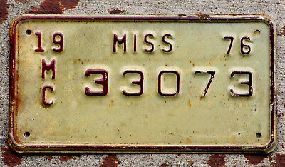 1976 Maroon on White Mississippi MOTORCYCLE License Plate