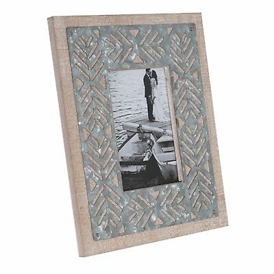 Photo Frame Wooden Vintage Rustic Metal Natural Timber Country Beach House Brax