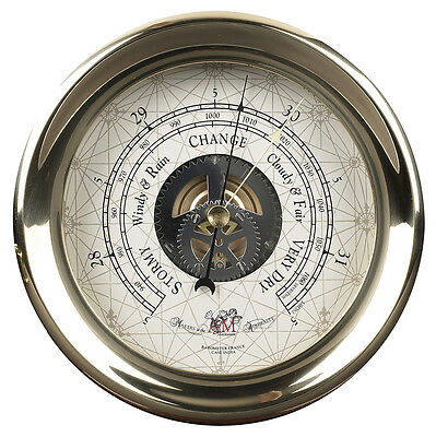 """Ships Captain's Weather Barometer 7"""" Brass Nautical Wall Mantle Marine Decor New"""
