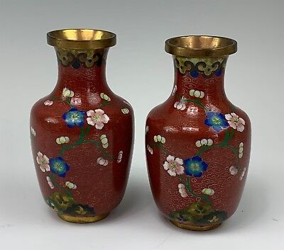 Pair Small Chinese Cloisonne Vases