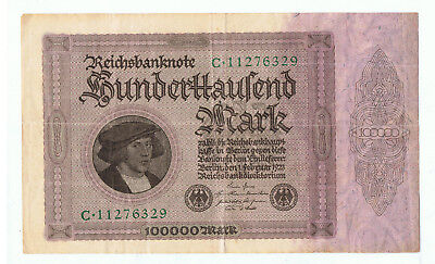 1923 GERMAN 100000 MARK REICHSBANKNOTE MASSIVE 19.5cm x 11.5cm