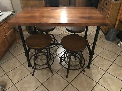 """Vintage Industrial 52"""" Center Island Dining Table Workbench Steampunk Pipe Base"""
