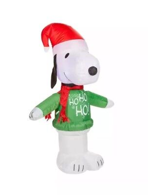 Peanuts Snoopy Christmas Airblown Inflatable Led Lights Up Yard Decor New!