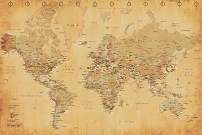 WORLD MAP VINTAGE STYLE POSTER 91,5 x 61 cm