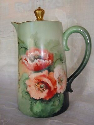 ANTIQUE LIMOGES D&Co CHOCOLATE / COFFEE / TEA POT, HAND PAINTED SIGNED, POPPIES