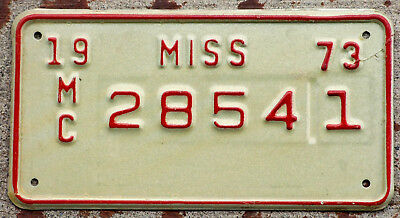 1973 Red on White Mississippi MOTORCYCLE License Plate