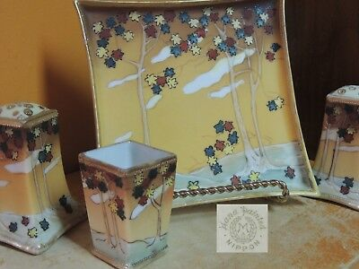 4 pc Hand Painted Nippon Salt Set spice shaker Gold Accents Moriage autumn scene
