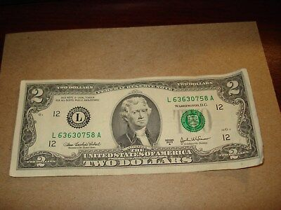 2003 A - $2 USA note - American two dollar bill - L 63630758 A