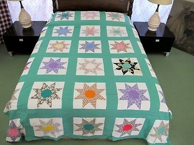 "Vintage Feed Sack Cotton Hand Pieced LeMoyne Star Quilt TOP; 96"" x 79"""