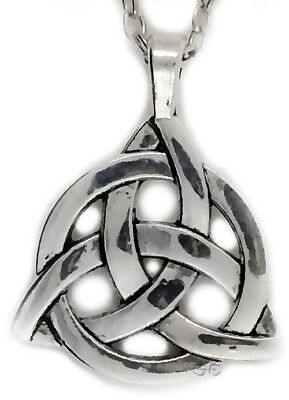 Celtic Irish Triquetra Trinity Knot Pendant Necklace w Silver Chain Flat