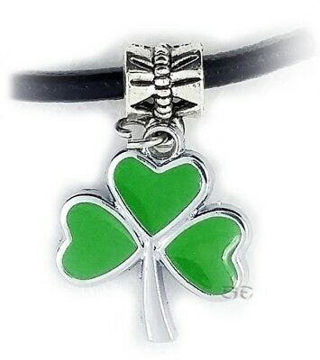 Celtic Irish Shamrock Clover Pendant Necklace Silver Green Lucky Charm w 18""