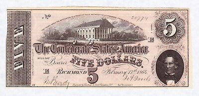 Civil War Confederate Five Dollar Currency Extra Fine Condition 1864 Richmond