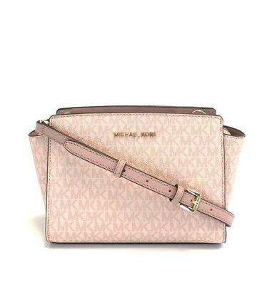 9180ddf33b65 New Womens Michael Kors Signature Fawn Pink Selma Medium Messenger  Crossbody Bag