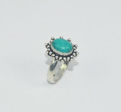 925 STERLING SILVER PLATED TURQUOISE RING oF07018