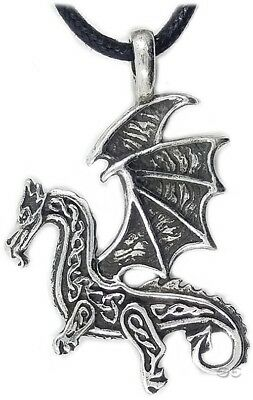 Celtic Irish Pendant Necklace Celtic Dragon Knot Protection Silver Adjustable