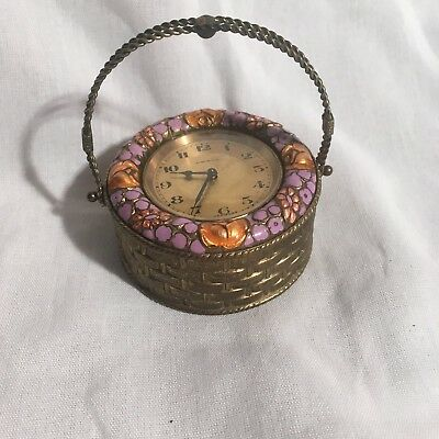 Antique Vintage German Small Basket Clock