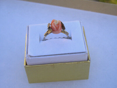 Pretty Vintage Carved Coral Rose Flower 800 Silver Band Ring Size 6