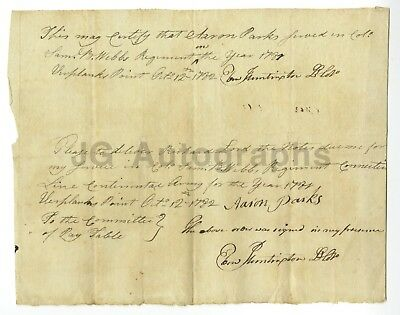 1782 Revolutionary War Doc. - Ebenizer Huntington - Marched With G. Washington