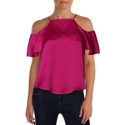 Design Lab Womens Purple Cold Shoulder Satin Ruffled Casual Top XS BHFO 2593