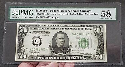 1934 Chicago $500 US FRN Fr# 2201 Gdgs Five Hundred Dollar Note PMG 58 Choice AU