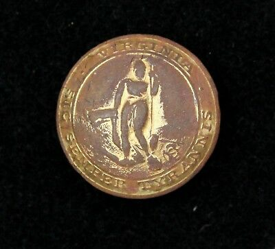 Civil War Virginia State Seal Cuff Button Schuyler H & G Bkmk Dug Culpeper