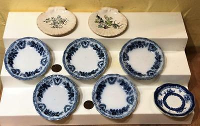 Lot of 8 Butter Pats,  6 Flow Blue + 2 Shell Shaped, Grindley, England, c. 1900