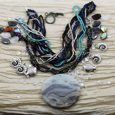 EXCLUSIVE * Stormy Ocean * Czech seed beads, Amazonite pendant, shells, fish cha