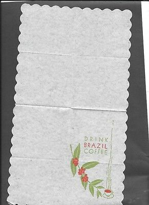 1939 Ggie Napkin From The Brazil Coffee Exhibit- Amazing That This  Survived