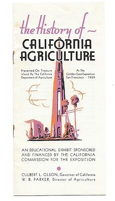 1939-40 Ggie Booklet History Of California Agriculture 12 Pages