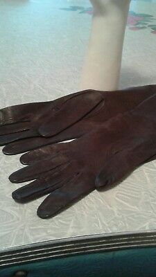 Vintage  Womens Leather Gloves Brown 7 1/2  No Holes No Repairs Stunning