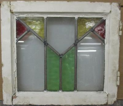 "OLD ENGLISH LEADED STAINED GLASS WINDOW Simple Geometric Design 17.25"" x 15.25"""