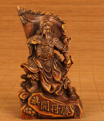 antique big boxwood hand carved guangong statue collectable ornament