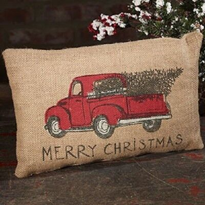 "RED TRUCK MERRY CHRISTMAS PILLOW with TREE Natural Burlap Pillow 12"" x 8"""