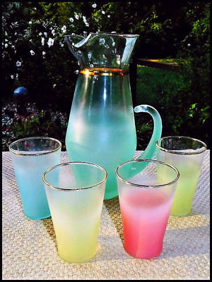 Blendo Mid-Century 1950's Pastel Frosted Glass Pitcher & 4 Tumblers Ex.Cond!