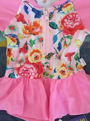 Divine!!! Seafolly Girls Roses Are Pink Playsuit Bathers Swimsuit Toddler Sz 0