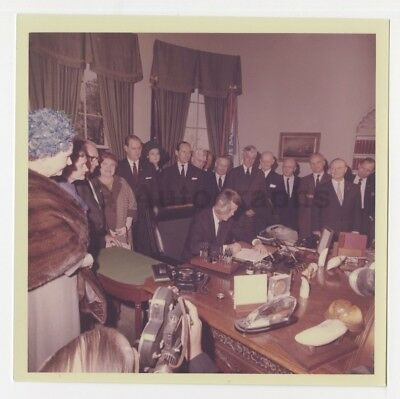 John F. Kennedy 1963 Presidential Bill Signing Cecil Stoughton Vintage Photo