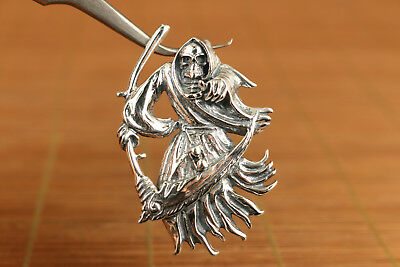 rare chinese old s925 silver hand carved death statue pendant