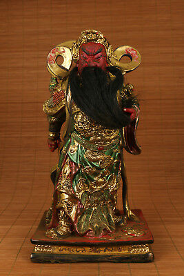 10inch unique old wood guan gong hero statue  decoration figure collectable