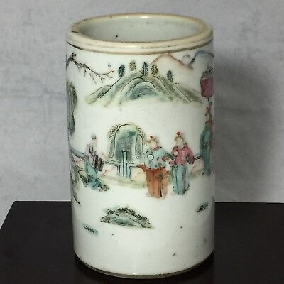 Antique Qing Dyn. TongZhi Chinese Famille Rose Hand Painted Pen Holder Brush Pot