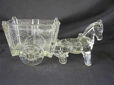 Vintage Glass Horse Donkey with Cart Candy Dish, Clear Depression Glass, PERFECT