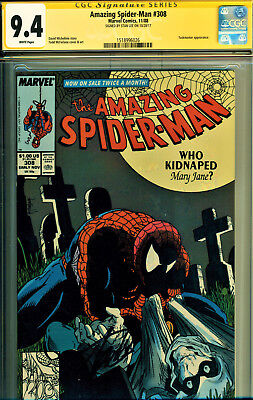 Amazing Spider-Man #308 Cgc 9.4 Ss Signed By Stan Lee-Todd Mcfarlane Art!