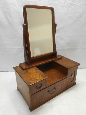Vintage Keyaki and Kiri Wood Mirror Box Japanese Drawers Circa 1930s #864
