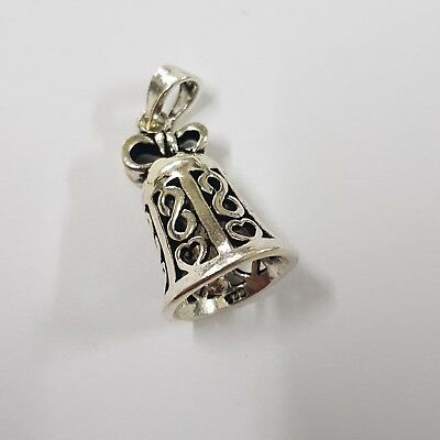 New Authentic Charm Handmade 925 Sterling Silver Dangle Chic Bell Christmas.