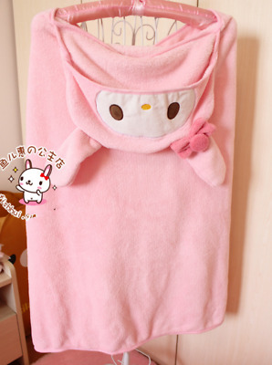 Kawaii Bowknot My Melody Kitty Hooded Pink Cloak Blanket Cape Coral Fleece Cos