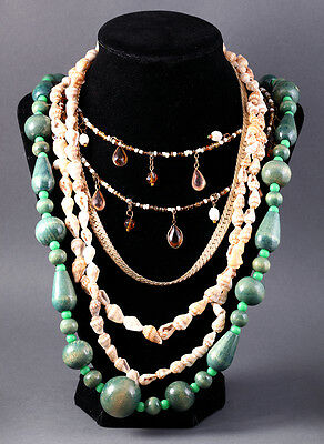 Vintage Jewelry Lot Set Of Four Necklaces Green Wood Metal Sea Shells Estate