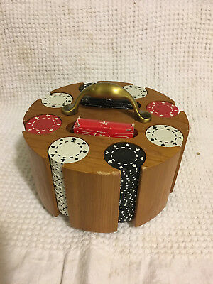 Vintage Wood Poker Chip Holder Caddy Carousel Lazy Susan With Chips
