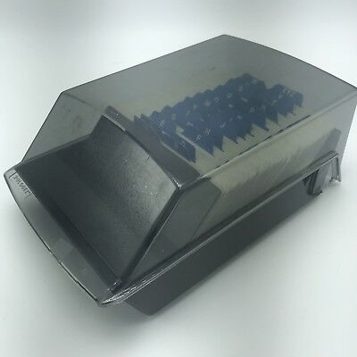 Rolodex Index Card Office File Organizer S500C Extra Covered Flat Long Gray Vtg