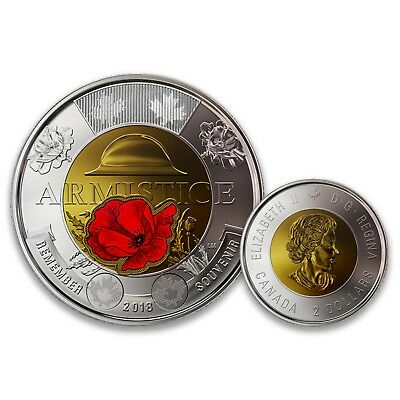 Canada 2018 Armistice Remembrance Red Poppy Coloured $2 Two Dollars UNC Coin
