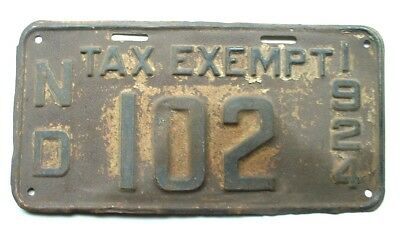 1924 ND North Dakota License Plate Tax Exempt low number 102
