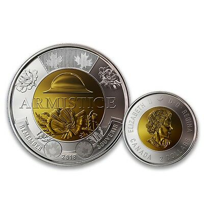 Canada 2018 Armistice Remembrance Poppy Engraved Version $2 Two Dollars UNC Coin